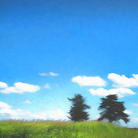 Country Scene with Two Trees by Ann Powell