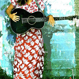 Country Western singer, favorite strawberry dress by Thomas Pollart