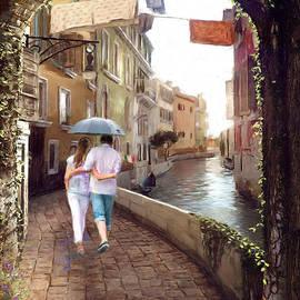 Couple taking a walk in Europe by Dominique Amendola
