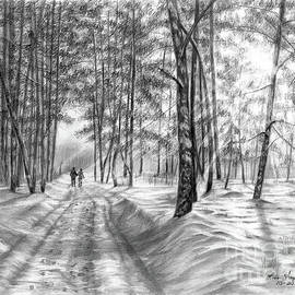 Couple Walking on a Road in Winter by Lena Auxier