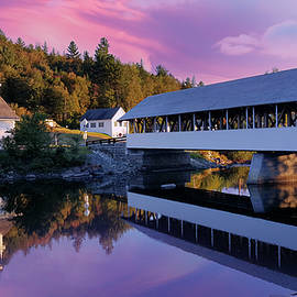 Covered Bridge and Church of Stark New Hampshire by Jeff Folger