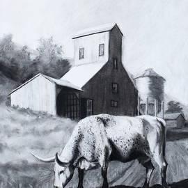Cow Grazing by Silo by Jordan Henderson