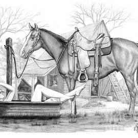 Cowgirl Bathing drawing by Murphy Art Elliott