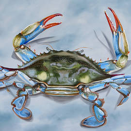 Crab On Blue by Phyllis Beiser