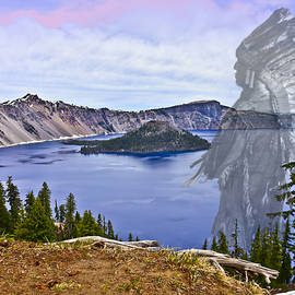 Crater Lake And Klamath Indian Chief by Joyce Dickens