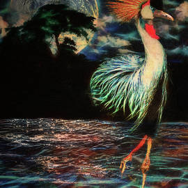 Crested Crane Moon Walk by Michael Durst
