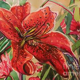 Crimson Day Lilies by Mindy Newman
