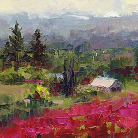 Crimson Hillside - plein air palette knife painting by Talya Johnson