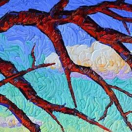CRIMSON OAK TREE BRANCHES AND CLOUDS textural impasto palette knife oil painting Ana Maria Edulescu by Ana Maria Edulescu