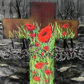 Cross and Poppies by Karen Harding