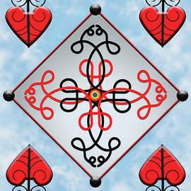 Cross Diamond and Hearts by Yuri Lev
