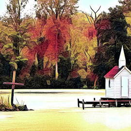 Cross Island Chapel The Worlds Smallest Church Oneida NY Autumn Abstract by Rose Santuci-Sofranko