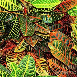 Croton Leaves Macro Abstract Expressionism Effect by Rose Santuci-Sofranko