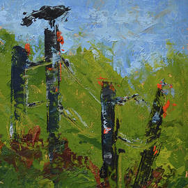 Crow on Fence by Patricia Caldwell