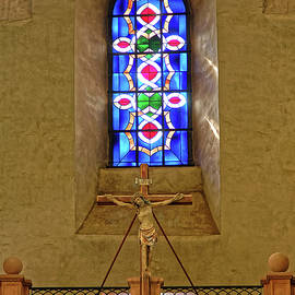 Crucifix and Stained Glass by Sally Weigand