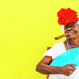 Cuban Woman With Cigar by Paul Thompson