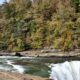 Cumberland Falls And River - Upstream View Panorama  by John Trommer