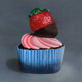 Painting of Frosted Cupcake with Chocolate Covered Strawberry in Blue, Red, Pink and Gray by Ann Cloutier