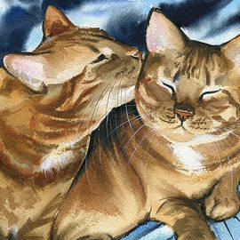Cupcake and Buttercup - Ginger Cat Painting  by Dora Hathazi Mendes