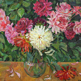Dahlias in a vase by Juliya Zhukova
