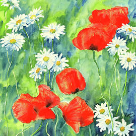 Daisies and poppies watercolor painting by Karen Kaspar