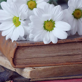 Daisies on a Stack of Vintage Books Still Life by Taphath Foose