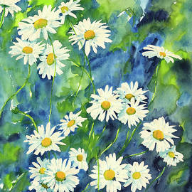 Daisies watercolor painting by Karen Kaspar