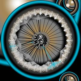 Dandelion Abstract Blue And Gold by Joan Stratton