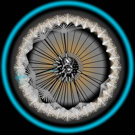 Dandelion Abstract Blue Halo by Joan Stratton