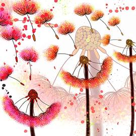 Dandelion Dance With A Splash Of Colour by Joan Stratton