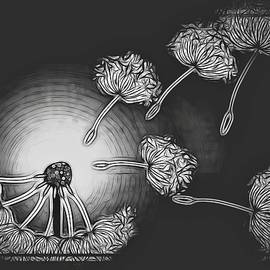 Dandelion Make A Wish Black And White Abstract by Joan Stratton