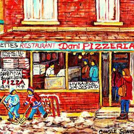 Dani Pizzeria Brochettes Pizza And Subs Lasalle Montreal Best Restaurants Carole Spandau Hockey Art by Carole Spandau