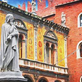 Dante Alighieri Piazza dei Signori Verona Italy  by Carol Japp