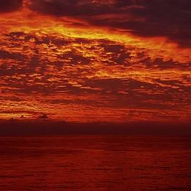 Dark Red Sunset by Ocean View Photography