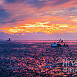 Dawn in Casco Bay With Fishing Boat by Diane Diederich