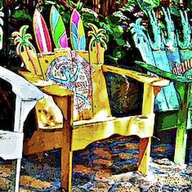 Deck Chairs Pop Art by Maria Keady