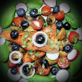 Delicious Salmon Blueberry Radish Mushroom And Herbs by Johanna Hurmerinta