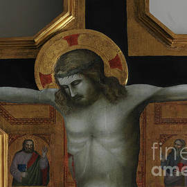 Detail of wooden crucifixion painted around 1350 by follower of Giotto, Fiesole, Tuscany, Italy by Terence Kerr