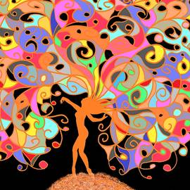 Detailed Color Spiral Tree On Black Background by Chante Moody