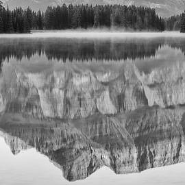 Details of a Sunrise Reflection at Two-Jack Lake - BW by Bruno Doddoli
