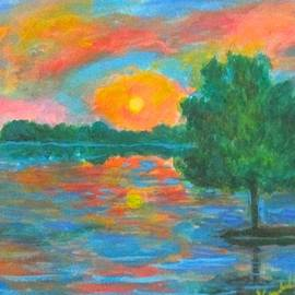 Distant Lake Sunset by Kendall Kessler