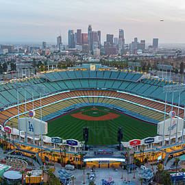 Dodger Stadium the night before 2021 home opening day by Josh Fuhrman