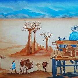 Donkey Cart with Boabab Tree by Loraine Yaffe