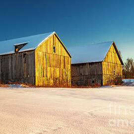 Double Barn Winter Sunset by Alan L Graham