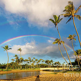 Double Rainbow Surprise at Sunrise from Waialae Beach Park by Phillip Espinasse