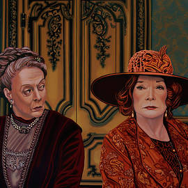 Downton Abbey Painting 5 Maggie Smith and Shirley MacLaine by Paul Meijering