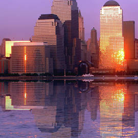 Downtown Manhattan reflection Financial district by Habib Ayat