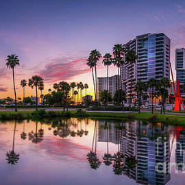 Downtown Sarasota, Florida Sunset Panorama by Liesl Walsh