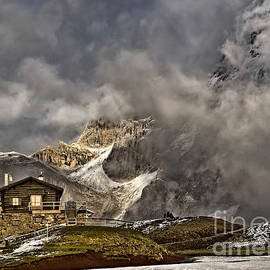 Dramatic dusk at mountains, Passo Rolle, Dolomites, Italy magnificent  by Tatiana Bogracheva