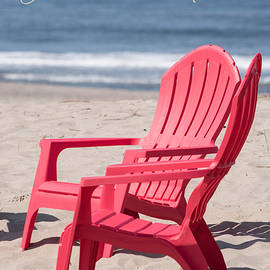 Dream with Me     Beach Chairs on Sunny Coastal Seashore by Nancy Jacobson